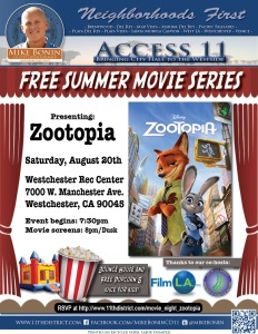 zootopia movie at the park